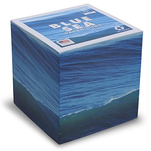 "Blue Sea Note Cube - STICKY 3.5"" - Made in USA (paper US or CAN) - 100% Recycled 24 lb. bond - 700 white tear-off pages NOT LOOSE (Adhesive Cube Notepads)"
