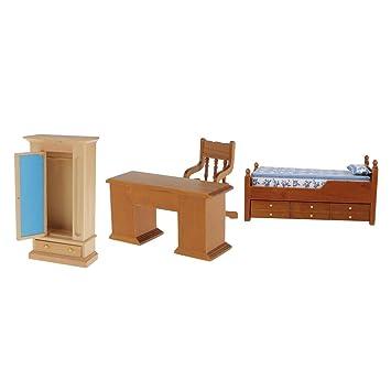 Mobili per casa delle bambole Set di due sedie in legno in scala 12th