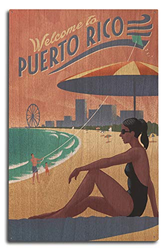 (Lantern Press Puerto Rico - Beach Scene - Lithograph 99628 (10x15 Wood Wall Sign, Wall Decor Ready to Hang))