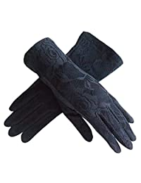 LANTINA summer women's lace cotton short sun gloves Anti-skid for driving