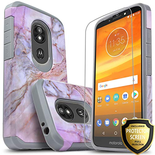 Moto E5 Plus Case, Moto E5 Supra Case with [Premium HD Screen Protector Included], Starshop [Shock Absorption] Dual Layers Impact Advanced Protective Phone Cover (Marble Pattern)