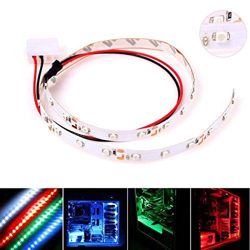 CrazyDeal 50CM 30 SMD 3528 LED Flexible PC Computer Case Strip Light Self-adhesive White