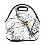 CsUaO Stylish 3D Printing Realtree Snow Camo Designed Handbag/Tote Lunch Bag/Bento Bag/Picnic Box