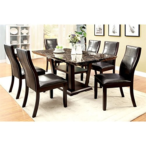 Furniture of America Alfaro 7-Piece Modern Faux Marble-Top Dining Set by Furniture of America