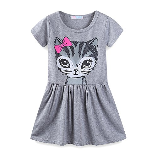 (Mud Kingdom Little Girls Dresses Summer Clothes Cat Face Size 6 Gray)