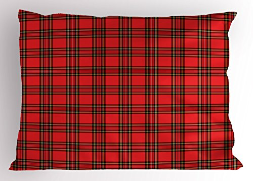 (Retro Pillow Sham by Ambesonne, Classical Plaid Pattern Scottish Striped Tartan Traditional Graphic Illustration, Decorative Standard King Size Printed Pillowcase, 36 X 20 Inches, Vermilion Black)