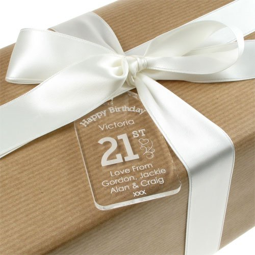 Personalised 21st Birthday Acrylic Gift Tag For A Girl Amazoncouk Kitchen Home