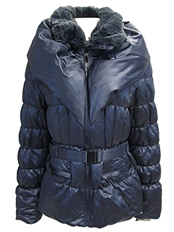 Women's Down In Cintura Blue Coat Puffer Trim Madison Nine Giacca 1 Finta Pelliccia Iron Con 5xwqfT