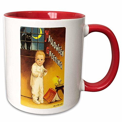 3dRose BLN Vintage Halloween - Vintage Halloween Greetings with a Cutle Child Reading a Scary Ghost Story - 15oz Two-Tone Red Mug (mug_126136_10)]()