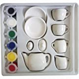 Angel Impex Mini Tea Set With Paint Accessories For Your Kids (Multi)