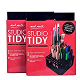 Mont Marte Studio Tidy 2 Pack. 96 Hole Plastic Pencil & Brush Holder for Paint Brushes, Pencils, Markers, Pens and Modeling Tools. Provides Excellent Art Studio Organization.