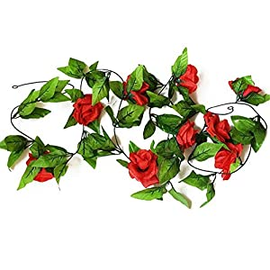 HY 8 Feet Pack of 2PCS Artificial Fake Silk Rose with Red Flower Ivy Vine Hanging Wedding Décor Party Home Garden Supermarket Decoration 8 Colors (Red) 74