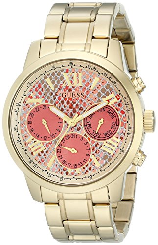 GUESS Women's U0330L11 Stainless Steel Gold-Tone Watch with Coral Python-Print Multi-Function Dial, Day, Date & 24 Hour Int'l Time