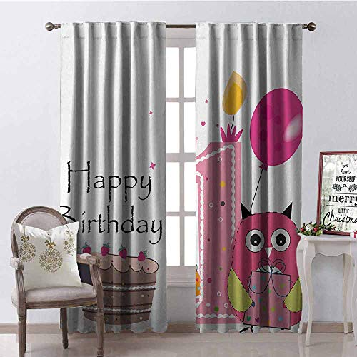 GloriaJohnson 1st Birthday Heat Insulation Curtain First Birthday Surprise Cake Candle Sketchy Cartoon Owl Image for Living Room or Bedroom W52 x L95 Inch Brown Hot Pink and Pink