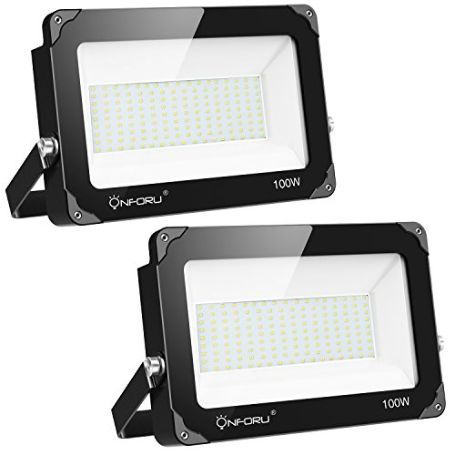 Onforu 2 Pack 100W LED Flood Light, 10000lm 5000K Daylight White, IP65 Waterproof Super Bright Security Lights, Outdoor Floodlight for Yard, Garden, Playground, Basketball Court by Onforu
