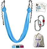 F.Life Aerial yoga hammock kit Include daisy chain,carabiner and pose guide (Blue)