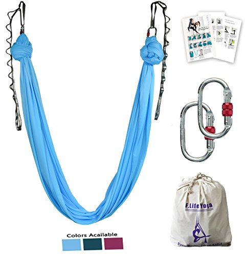 Aerial yoga hammock kit Include daisy chain ,carabiner and pose guide (Blue)