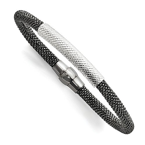 Sterling Silver Ruthenium-plated Mesh Bracelet by CoutureJewelers