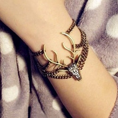 Wintefei Women#039s Vintage Style Multilayer Rhinestone Animal Deer Head Bracelet Xmas Gift