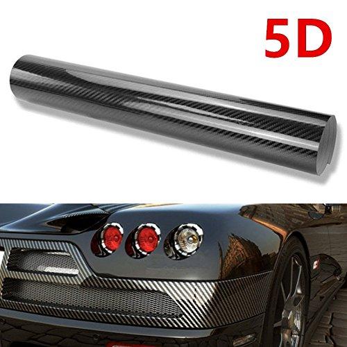Redodeco Diy 5D High Gloss Black Carbon Fiber Textured Car Vinyl Wrap Sheet Protective Film Air Release Bubble Free  5D Black  1Ftx6 56Ft 12X79