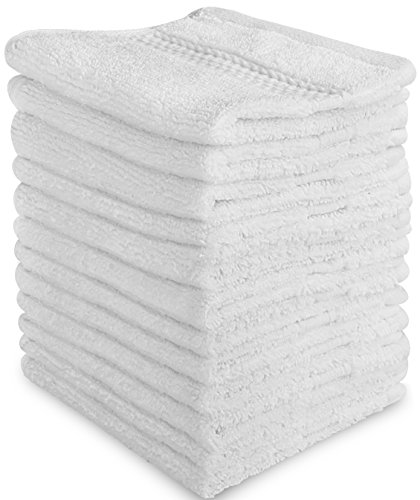 Luxury Cotton Washcloths (12-Pack, White, 12x12 Inches) - Easy Care, Fingertip Towels, (White Washcloth)
