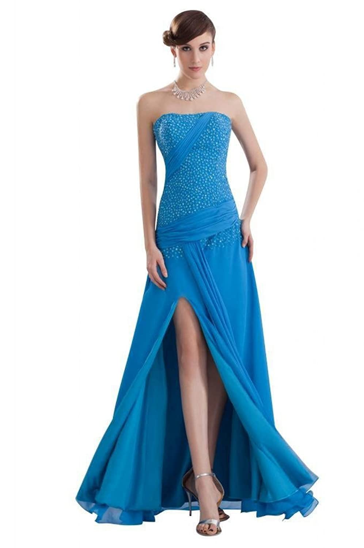 Dearta Women's A-Line Strapless Sleeveless Floor-Length Chiffon Prom Dresses