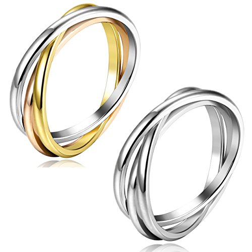 FIBO STEEL 2 Pcs Stainless Steel Triple Interlocked Wedding Ring for Men Women Rolling Band Thumb Ring Size 5 (Ring Stainless Steel Wedding Rolling)