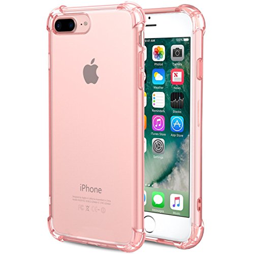 iPhone 8 Plus Case, iBarbe Clear Shock Absorption Shockproof Slim Fit,Heavy Duty Full Protective Rugged Bumper Soft TPU Cover Case for iPhone 8 Plus-Rosegold