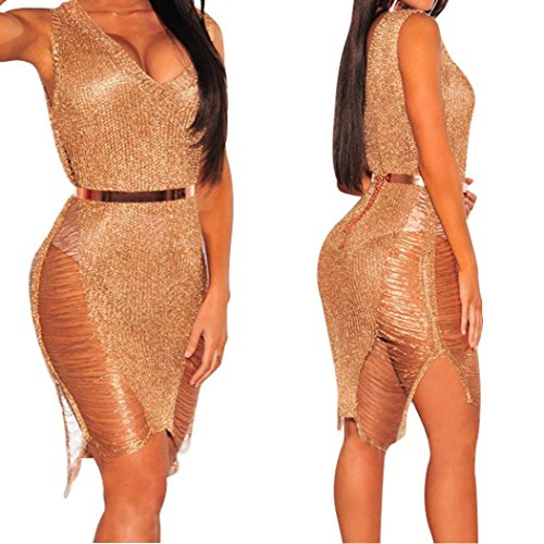 XILALU Sexy Women Sleeveless Beach Bikini Swimwear Knitting Smock Split Hollow Long Dress (S, Rose Gold)