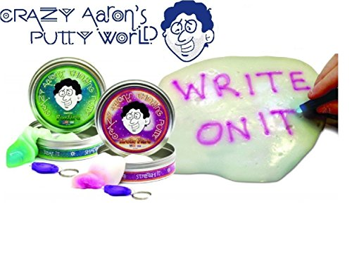 Crazy Aaron's Thinking Putty Phantoms (UV Reactive) Foxfire & Arctic Flare with Blacklight Keychains Gift Set Bundle - 2 Pack