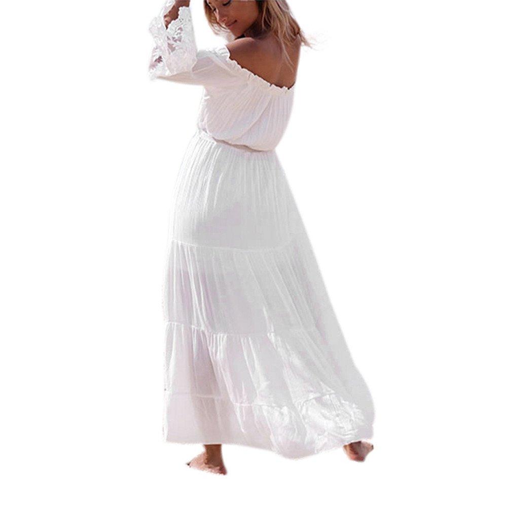 Vestido de Encaje sin Tirantes,Conquro para Mujer Falda de Playa Falda Suelta secci/ón de Costura Falda Larga Palabra Hombro Decorativo sin Espalda Elegante Falda Verano