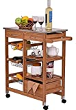 K&A Company Cart Kitchen Rolling Cabinet Storage Island Wood Trolley Utility Top Stand Portable New Drawer Shelf Heavy Duty Utility Modern Drawers Rack Shelves Bamboo