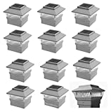 12 Pack 4x4 Outdoor Garden Solar LED White Post Cap Fence Pathway Landscape Square Light Lights Bundle Deal