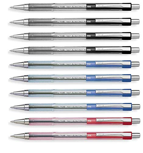 Pilot Better Retractable Ballpoint Pen, Bundle Black, Blue, Red colors Fine Point 07, 10 COUNT