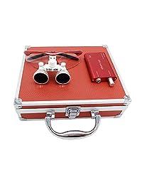 3.5 x 420 mm Distancia de Trabajo de Trabajo quirúrgico Binocular Loupes vidrio Óptico con LED Cabeza Lámpara De Luz + Aluminio Box Rojo