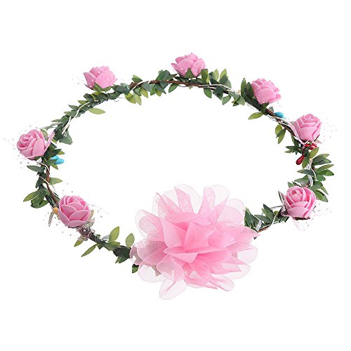 (Tronet Fakes Plants Flower LED Light Rose Flower Crown Floral Headband Garland Headpiece Party Festival PK)