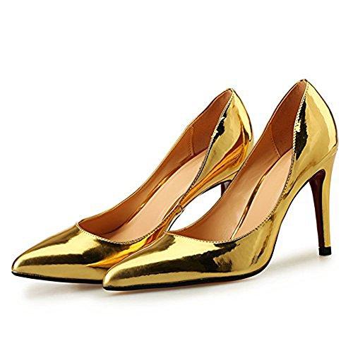 Pump Yellow golden A Night Club Party Stiletto High Dress and Pump Patent Comfort Heel Women's Men's qx6p1wnX