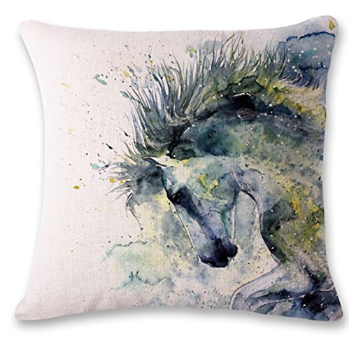 Oil Painting Horse Throw Pillow Case Horse Throw Pillow Cushion Cover Suitable for Home Living Room Bedroom Decoration Car Interior Design Office Layout,18x18inches,45cm45cm Pack of 1 ()