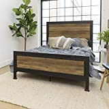 WE Furniture Rustic Wood & Metal Queen Bed Frame Oak