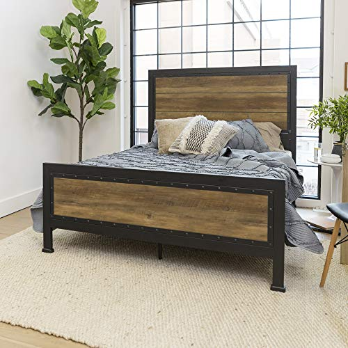 WE Furniture Rustic Wood & Metal Queen Bed Frame Oak, used for sale  Delivered anywhere in USA