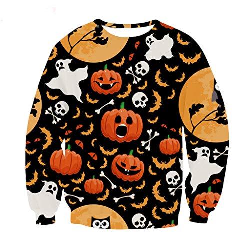 FEDULK Mens Halloween Costume Sweatshirt Slouchy Pumpkin Print Long Sleeve Round Neck Plus Size Pullover(Black1, X-Large)
