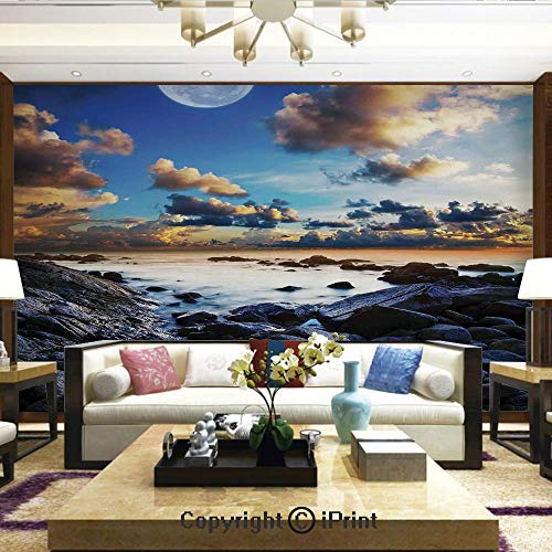 Mural Wall Art Photo Decor Wall Mural for Living Room or Bedroom,Full Moon Dark Clouds Rocky Coastline Scenic Seascape Morning View Picture,Home Decor - 100x144 inches