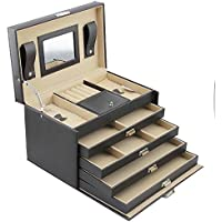 eHomeProducts Jewelry Box Case (Black & Beige)