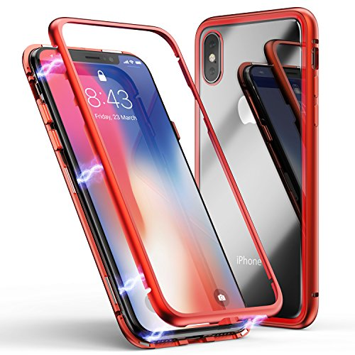 iPhone X Case, iPhone Xs Case, ZHIKE Magnetic Adsorption Case Metal Frame Tempered Glass Back with Built-in Magnet Cover [Support Wireless Charging] for Apple iPhone 10/X/XS (Clear Red)