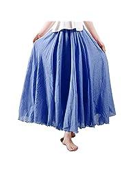 OCHENTA Women's Bohemian Style Elastic Waist Band Cotton Linen Long Maxi Skirt Dress