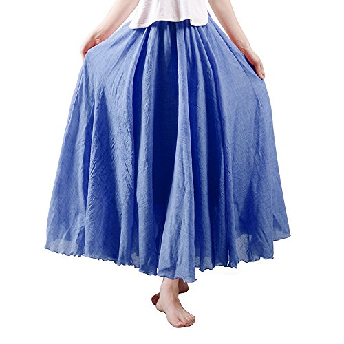 Full Circle Jeans (A Pagom Women's Full Circle Elastic Waist Band Cotton Long Maxi Skirt Dress Denim Blue 95CM Length)