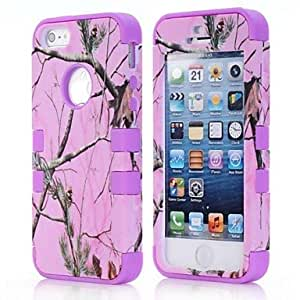 (CASEI)Hi-Q Beautiful Detachable 3 in 1 Pink Tree Branch PC Silicon Case Back Cover for iPhone5/5S , Blue