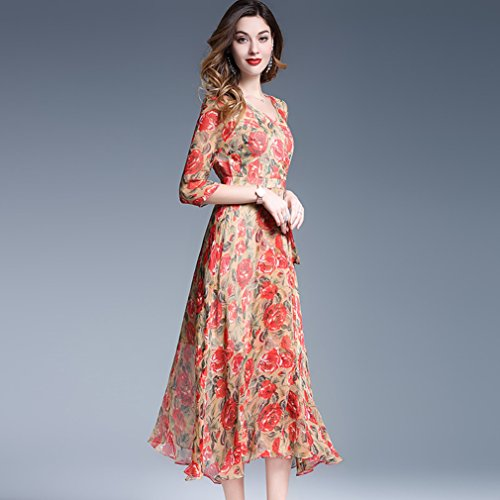 Printed Neck s Sleeve Half Long V Dresses Dress cotyledon Women YpqTT0