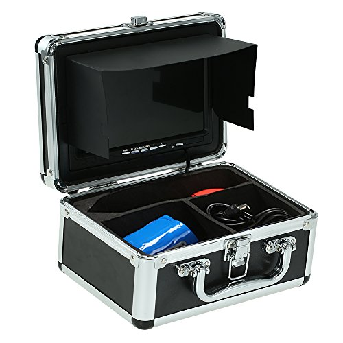 Walmeck Fish Finder Underwater Camera Photography Equipment Portable Alloy Case with 7'' LCD Video Monitor Anti Sunshine Shield Sunvisor for Fishing (Camera Not Included) - Flip Video Underwater Case