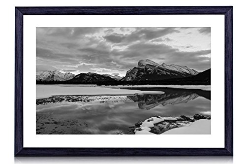 - Canada, Alberta, Banff National Park, mountains, lake, sky, clouds, winter - Art Print Black Wood Framed Wall Art Picture For Home Decoration - Black and White - 20
